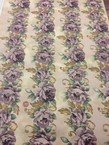 100% Cotton quilting craft Fabric Striped Trailing Rose Purple Floral