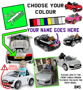 PERSONALISED BACK Kids Number Plate For ELECTRIC V Audi R Toy Car - Audi 6v ride toy cars