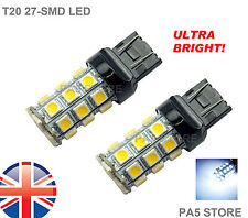 2x T20 7443 27-SMD LED BULBS W21/5W WHITE BRAKE TAIL REVERSE LIGHTS 6000K 12v UK