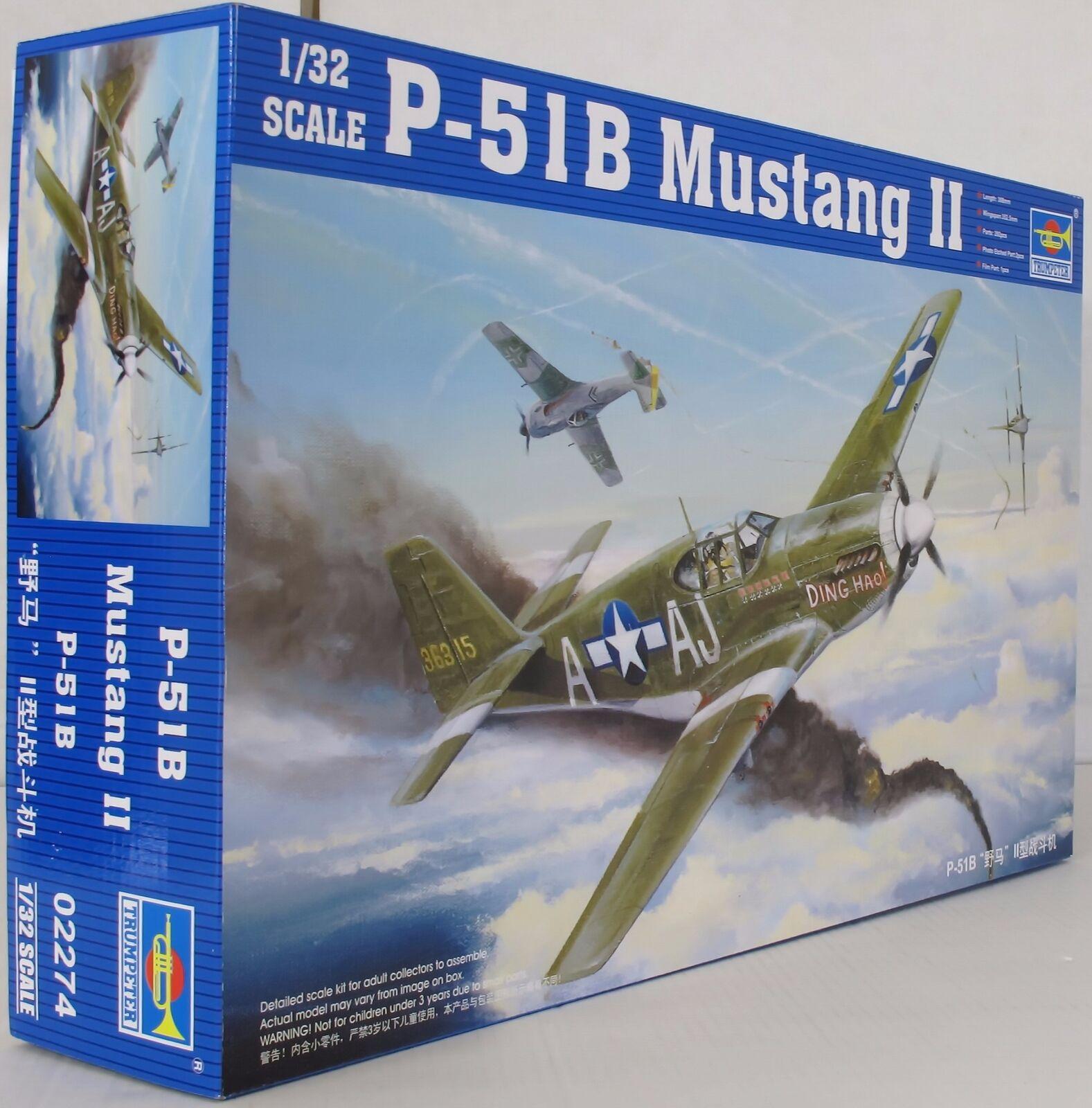 02274 1 32 Escala Modelo Avión P-51 B Mustang Fighter Warplane avión Trumpeter
