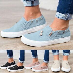 Women-039-s-Canvas-Flat-Shoes-Zipper-Slip-on-Shoes-Plimsolls-Slip-On-Flat-Shoes