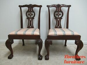 2-Baker-Furniture-Mahogany-Ball-Claw-Chippendale-Dining-Room-Side-Chairs-B