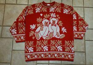 5016f849ea1 Holiday Time Women s Plus Size Ugly Christmas Sweater Bears Sz 20W ...