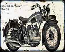 Bsa G14 03 A4 Metal Sign Motorbike Vintage Aged