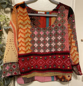 Patrons-of-Peace-SZ-Medium-3-4-Sleeve-Multicolor-Geometric-Boho-Blouse-Top