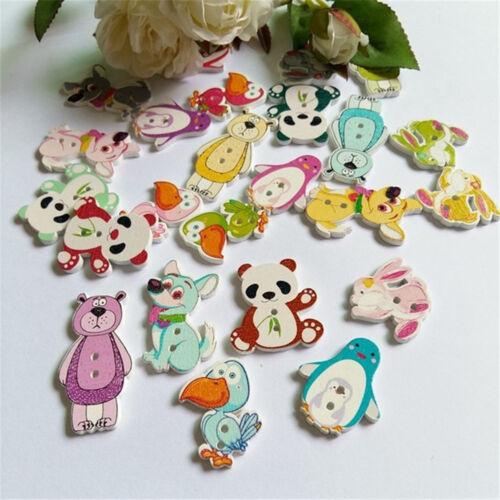 50Pcs Natural Wooden Buttons Cute Mixed Animals Shape Decor Sewing Buttons