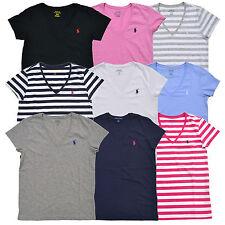 Ralph Lauren Womens T Shirt Jersey Tee V Neck Top T-Shirt Pony Xs S M L Xl New