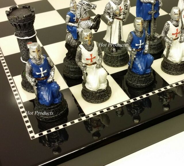 "MEDIEVAL TIMES CRUSADES WARRIOR Blue /& White CHESS SET BLACK BOARD 15/"""