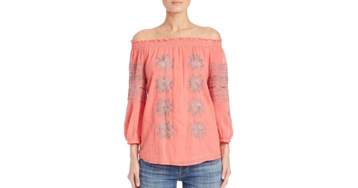 Christophe sauvant Bolchoï Off The Shoulder Top Corail XS S Neuf Avec Étiquettes 189