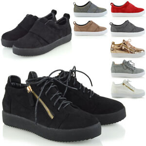 c94315e88b07 Image is loading Womens-Casual-Sneakers-Flat-Pumps-SlipOn-Ladies-Comfy-