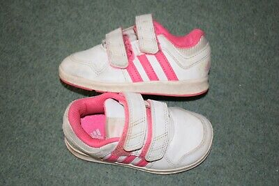Adidas Girls White/pink Trainers Size