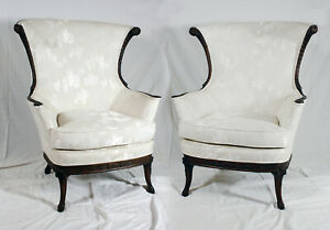 Fine Details About Rarevintage Pair Of Regency Highback Dark Wood Trim White Upholstered Chairs Home Remodeling Inspirations Genioncuboardxyz