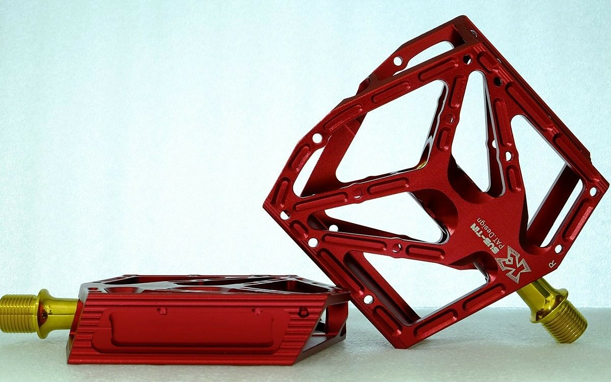 Kcnc Acero Inoxidable bmx mtb Pedales de plataforma Par, Rojo -- X'mas A La Venta