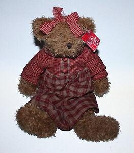 "Rare Serina Russ Teddy Bear Avon Collection Plaid Dress Bloomers Tag On 15"""