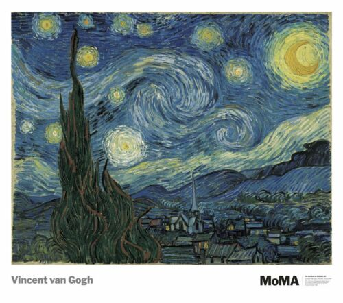 The Starry Night by Vincent Van Gogh 30.5x27 MOMA Poster MUSEUM ART PRINT