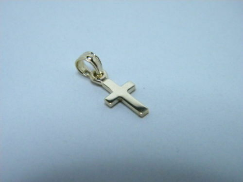 14K Yellow small  gold Cross tiny Petite 3 8ths inch
