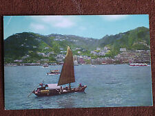 Hong Kong China/Crown Colony & Chinese Sampan/Japan Air Lines Chrome Postcard