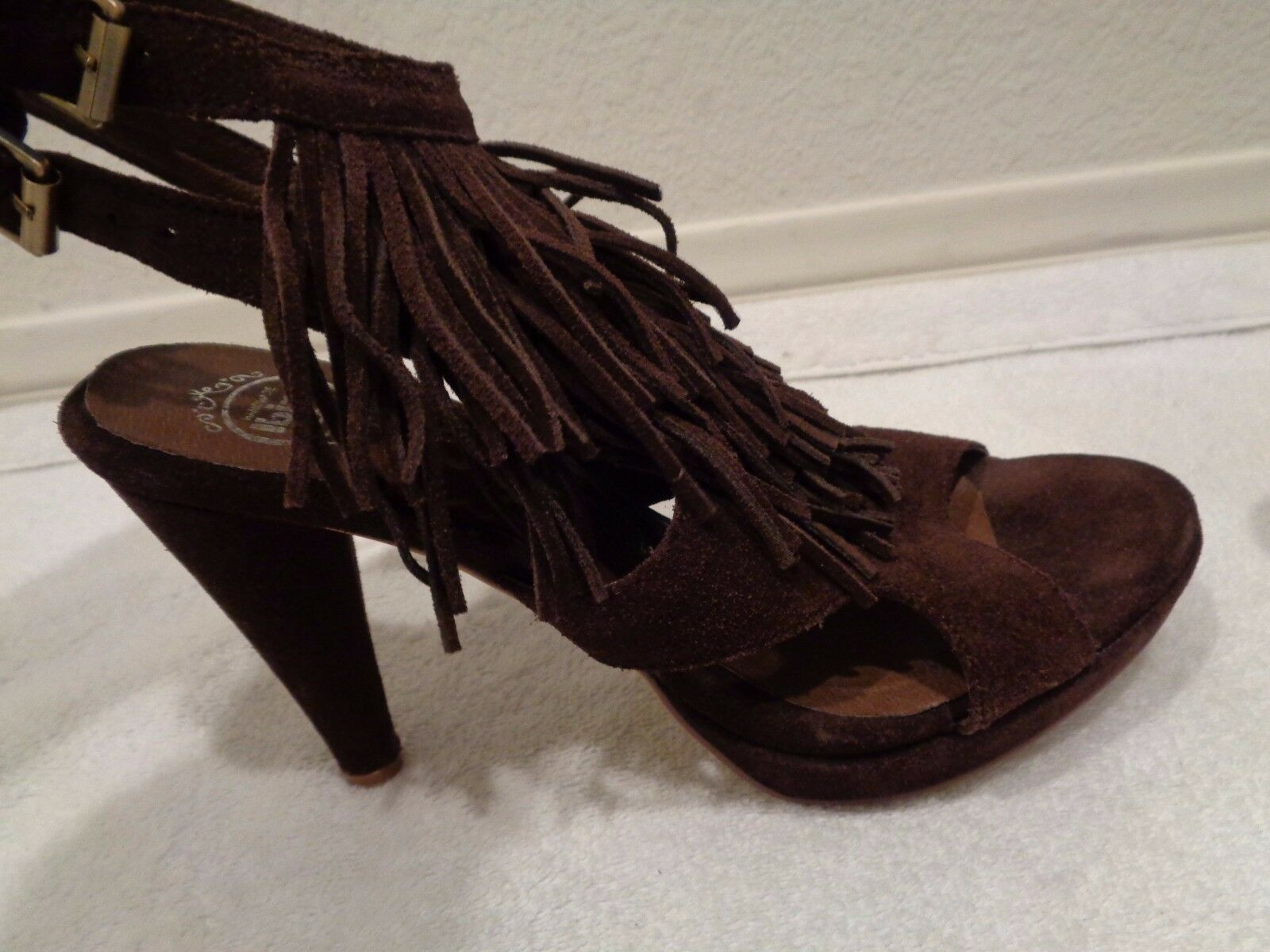 Jeffrey Campbell Brown Suede Fringe Detail LaLa SZ 8-NEW