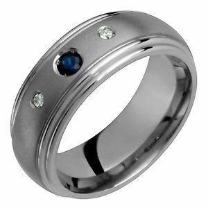 Men Diamonds N Sapphire W Titanium Ring Comfort Fit Wedding Band