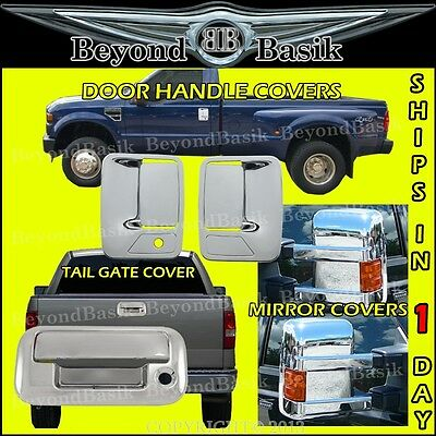 1999-2007 Ford F250-F550 SUPERDUTY Chrome Door Handle COVERS 2dr 1KH+Tailgate
