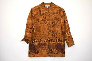 Coldwater-Creek-Women-039-s-Small-Point-Collar-3-4-Sleeve-Button-Up-Shirt