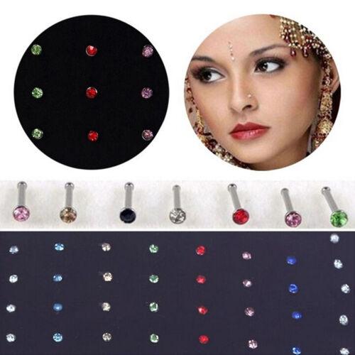 40x CRISTAL STRASS-Acier Inoxydable Nez Anneau Corps Piercing os Stud #Jewelry