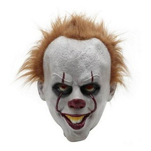 Adult Full Face Latex Mask Scary Clown Halloween Costume Creepy Evil Horror US