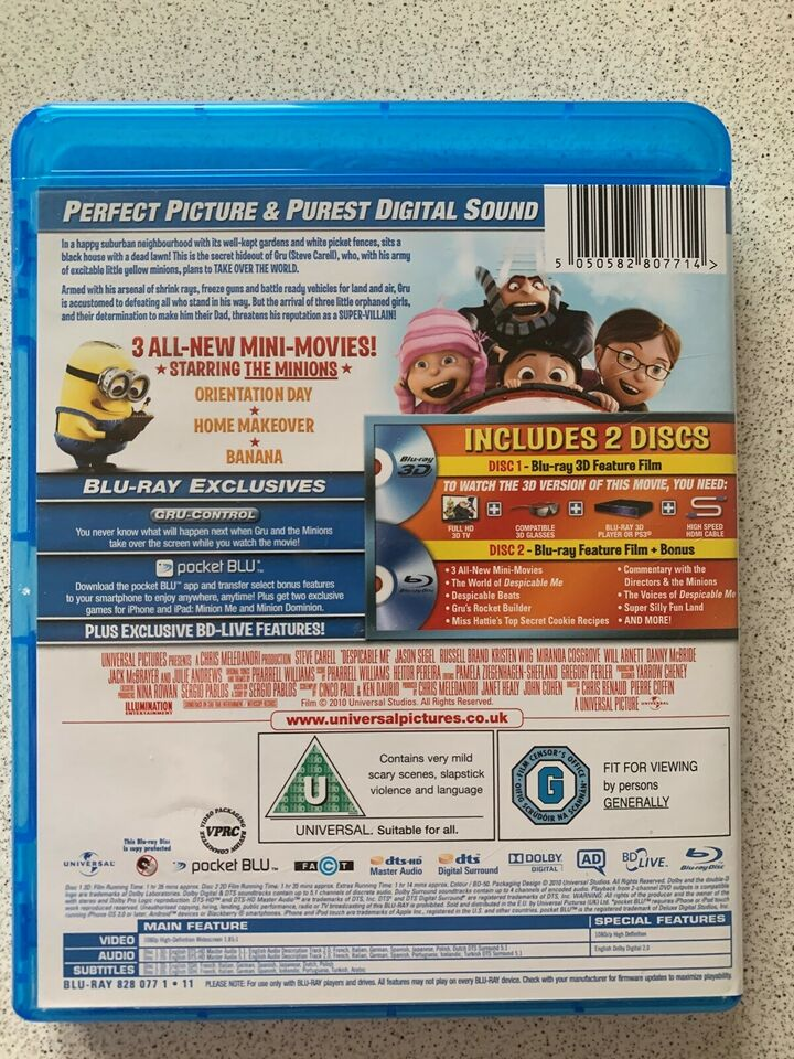 Despicable me 3D, Blu-ray, animation
