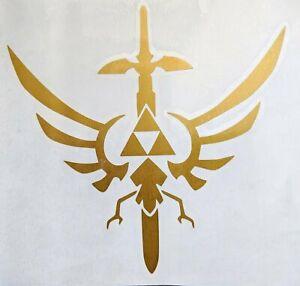 The Legend Of Zelda Hylian Crest Triforce W Master Sword Vinyl Decal For Car Ebay