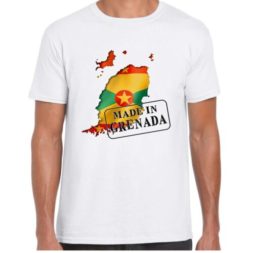 Flag and map Mens T Shirt Made in Grenada