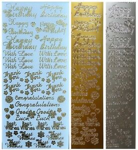 MIXED SENTIMENTS Peel Off Stickers Birthday Love Thinking of you Gold or Silver