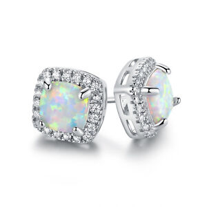 7100f79c43af3 Details about 18K White Gold Plated Fire Opal Stud Earrings