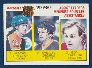 ASSIST-LEADERS-GRETZKY-DIONNE-LAFLEUR-80-81-O-PEE-CHEE-1980-81-NO-162-EX-1123