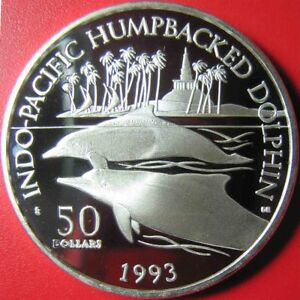 1993-MARSHALL-ISLANDS-50-PROOF-1oz-SILVER-HUMPBACKED-DOLPHIN-PALM-TREES-RARE