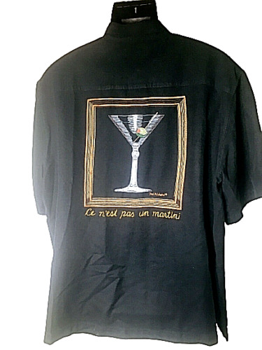 Tori Richard Men's XL Camp Shirt Black Silk Embroi