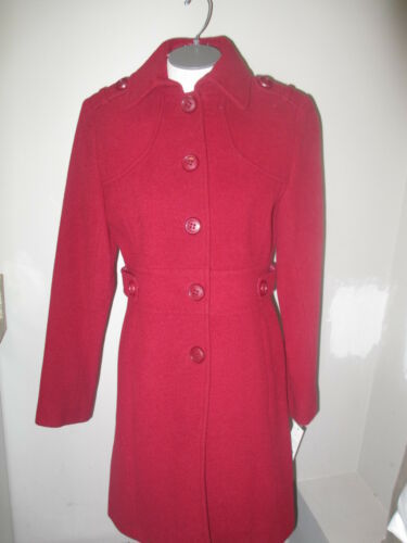 Kenneth Cole Reaction Single Breasted Wool Walker Military Coat Ruby Red NWT