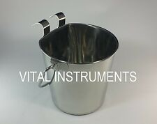 Stainless Steel Bucket Pail FLAT SIDED 2 Qt Dog Pup Kennel Farm Water Heavy Duty