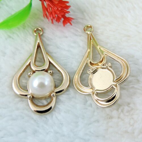 8pcs Pack Golden Metal Alloy Irregular Shape Pearl Pendant Charms Jewelry  Craft