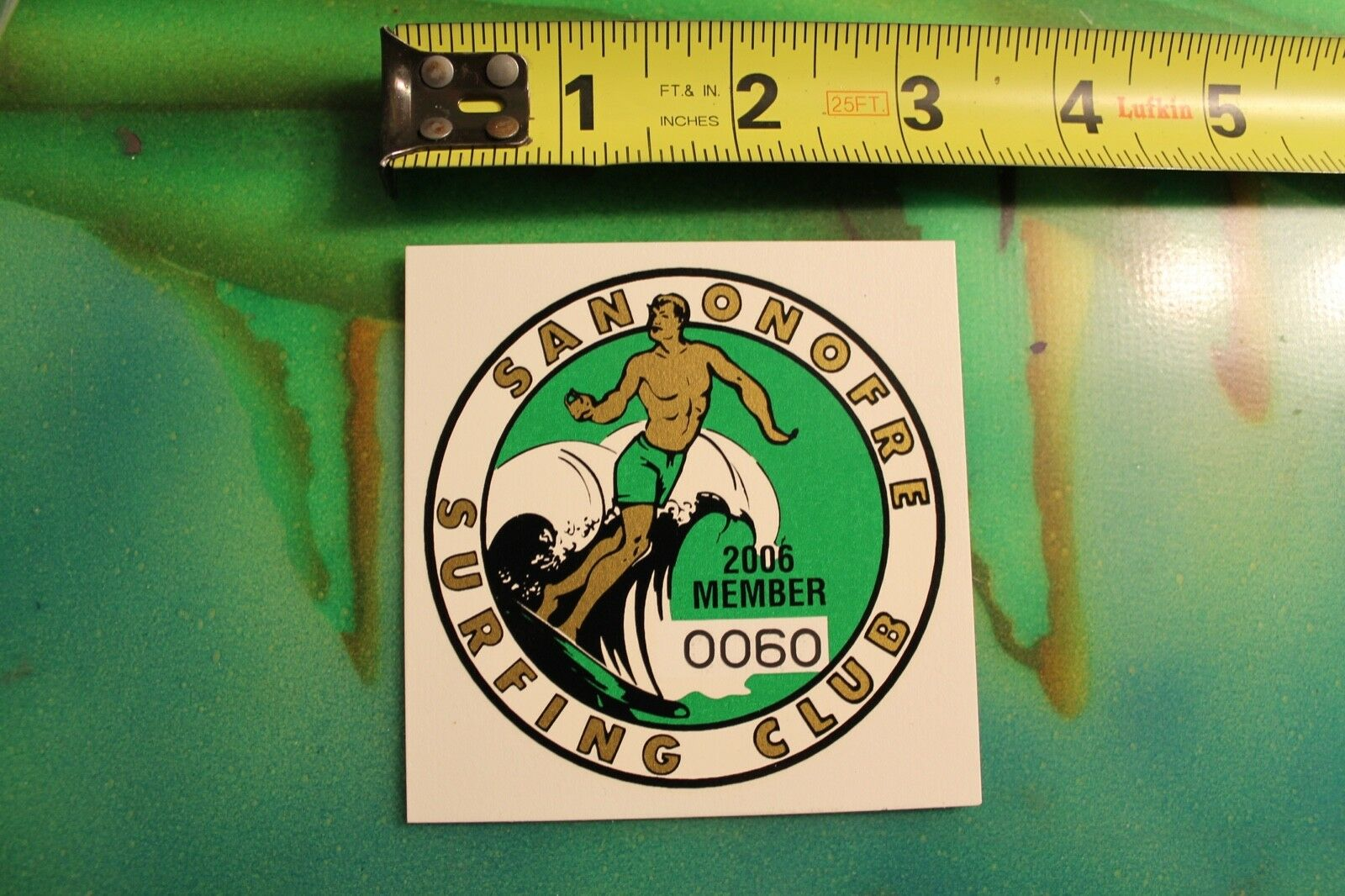 San Onofre Surfing Club Vintage 2006 Member Original Water-Slide Transfer DECAL