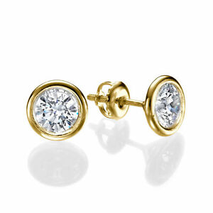 Solitaire 18KT Yellow Gold Round Cut Diamond Stud Earrings 2.00 CT D/VS1