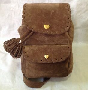 Sepcoeur Paris France Suede Leather Backpack Bucket Bag Gold Brown ...