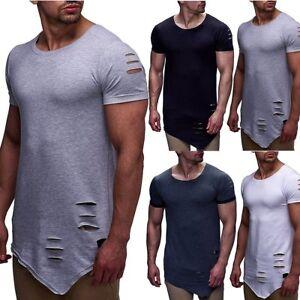 Fashion-Men-039-s-Irregular-Tee-Short-Sleeve-Ripped-Holes-T-shirt-Casual-Tops-Shirts