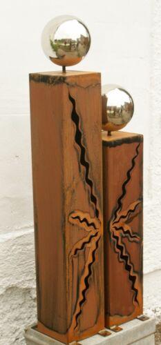80 cm Stehlen Skulptur Edelstahlkugeln Gartendeko Rost Säulenpaar  60 cm