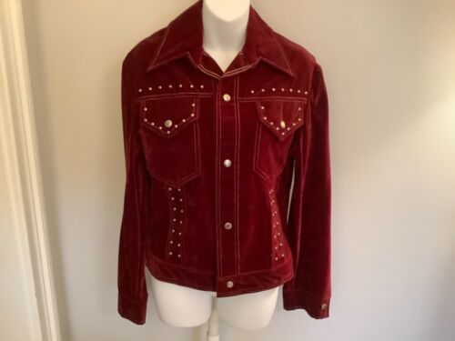 VINTAGE Women's Burgundy Red Velvet Blazer Jacket… - image 1