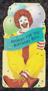 1980s-Die-Cut-Stand-Up-Ronald-McDonald-Birthday-Card-Hallmark-Canada-Used