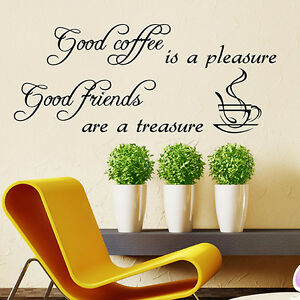 KITCHEN WALL STICKERS Good Coffee WALL QUOTES WALL QUOTE STICKER ...