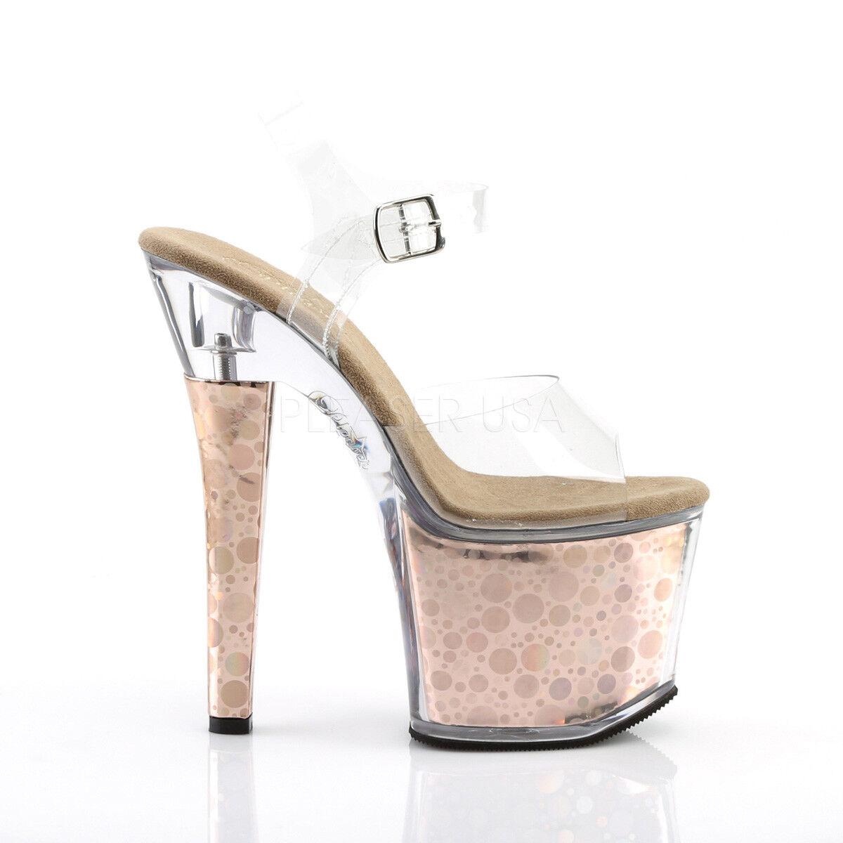 PLEASER Sexy 7  Heel Bronze Bronze Bronze Holographic Platform Stripper Clear Sandal schuhe a748a0