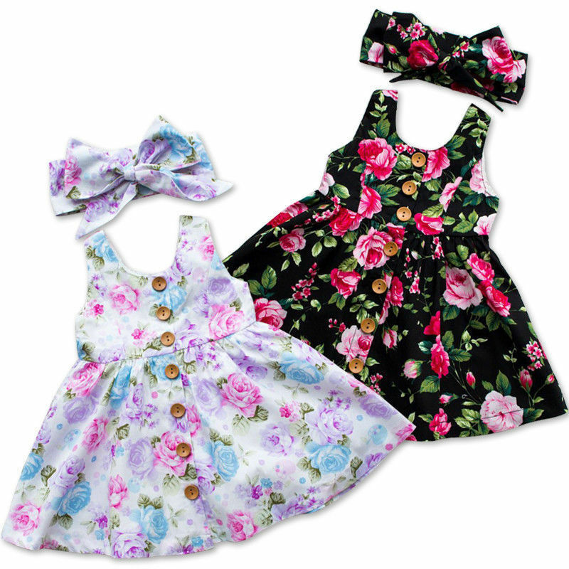 Kids Toddler Baby Girl Princess Dress Floral Pageant Wedding