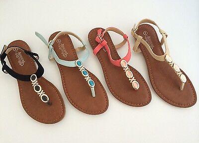 Final Fashion Womens casual marble gem rhinestone flat heel T-Strap Sandals