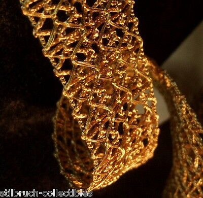 Gold metallic lace antique vintage vtg precious glamorous ribbon trim 1-1/8 wide